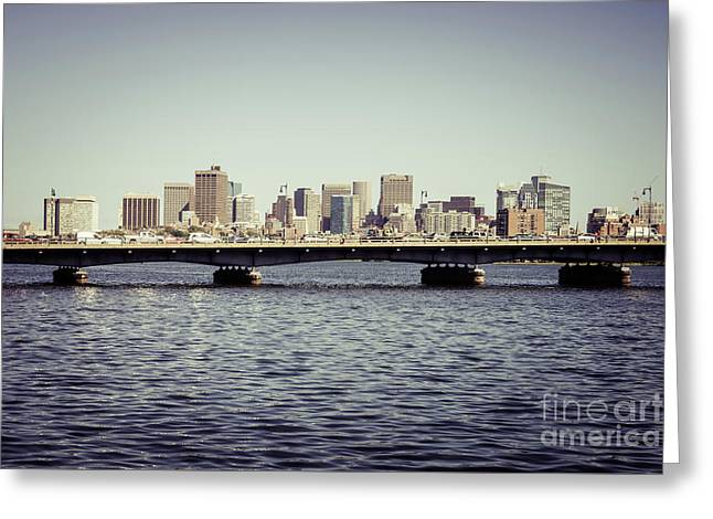 Boston Skyline And Back Bay Harvard Bridge Retro Photo Greeting Card by Paul Velgos