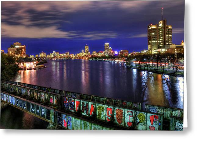 Boston Skyline And The Boston University Bridge Greeting Card