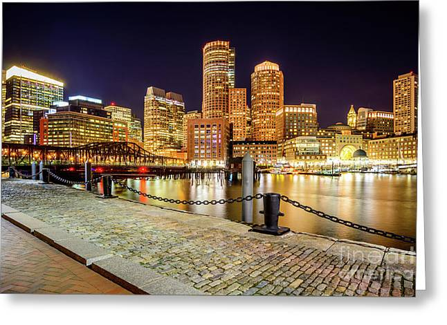 Boston Skyline At Night And Harborwalk Picture Greeting Card