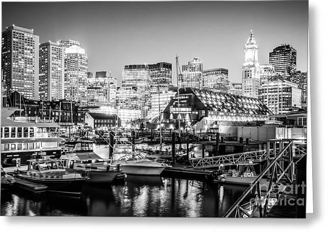 Boston Skyline At Night Black And White Photo Greeting Card