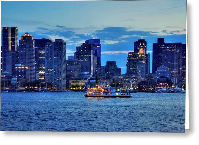 Boston Skyline At Night - Boston Harbor Greeting Card