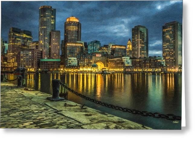 Boston Skyline At Night - Cty828916 Greeting Card