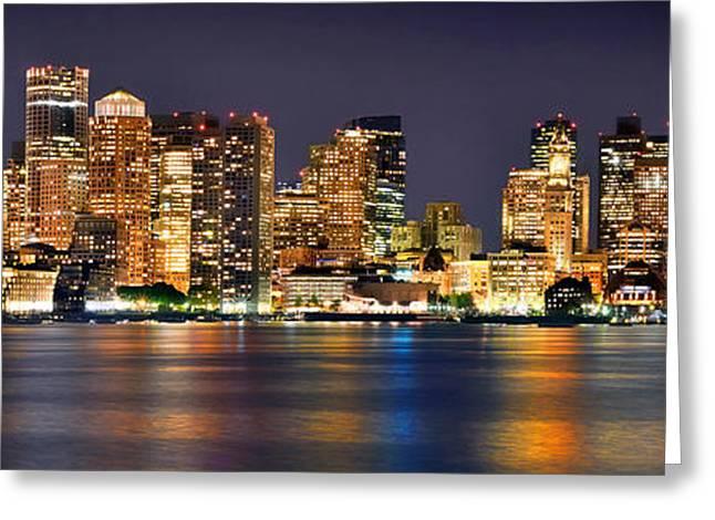 Boston Skyline At Night Panorama Greeting Card