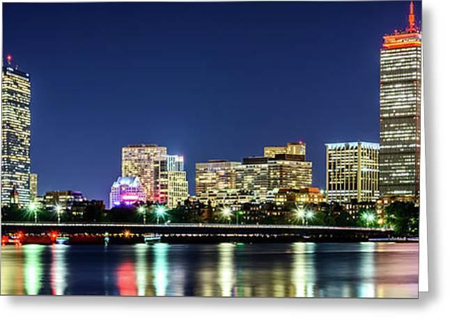 Boston Skyline At Night Panorama Photo Greeting Card by Paul Velgos