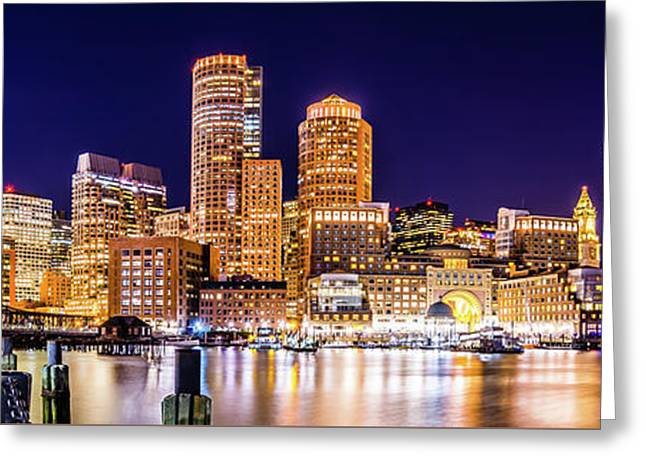 Boston Skyline At Night Panorama Picture Greeting Card