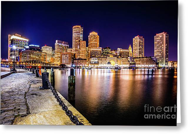 Boston Skyline At Night Picture Greeting Card