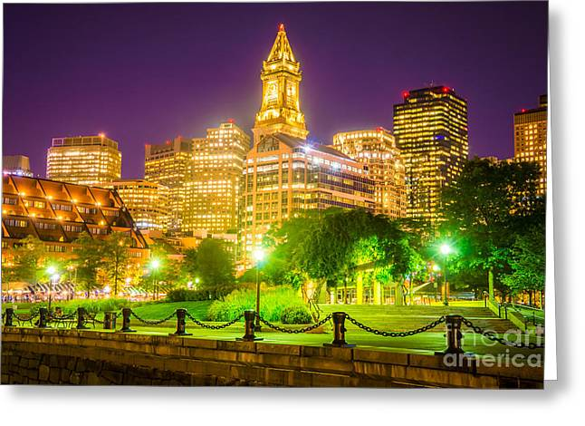 Boston Skyline At Night With Christopher Columbus Park Greeting Card