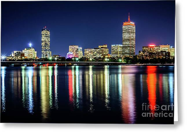 Boston Skyline At Night With Harvard Bridge Greeting Card by Paul Velgos