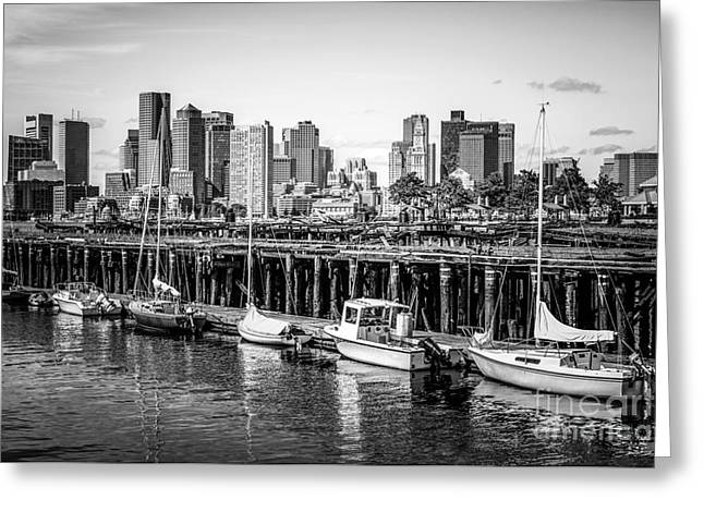Boston Skyline At Piers Park Black And White Photo Greeting Card