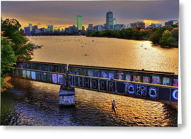 Boston Skyline At Sunrise Over The Charles River Greeting Card