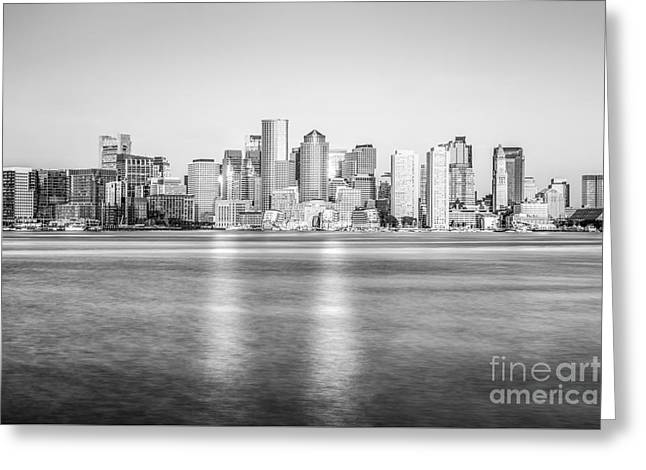Boston Skyline Black And White Picture Greeting Card