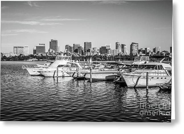 Boston Skyline Boats Black And White Photo Greeting Card