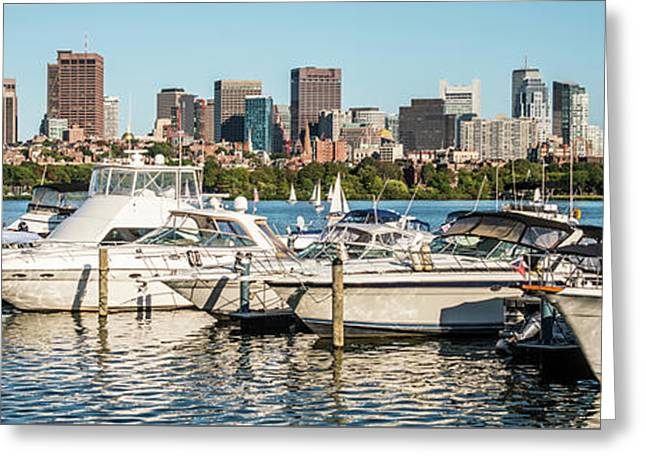Boston Skyline Charles River Boats Panorama Photo Greeting Card by Paul Velgos
