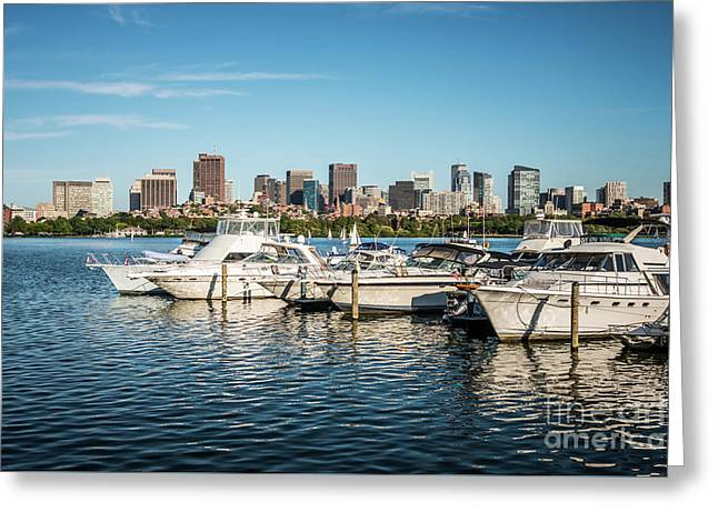 Boston Skyline Charles River Boats Photo Greeting Card by Paul Velgos