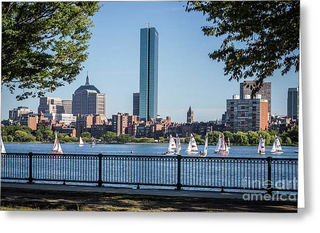 Boston Skyline Charles River Sailboats Photo Greeting Card