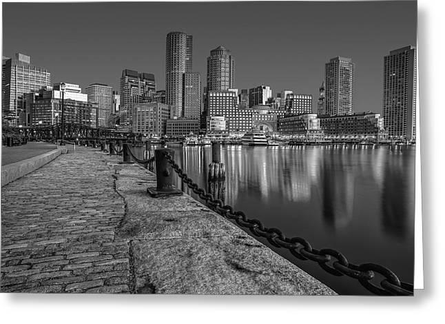 Boston Skyline Dawn Bw Greeting Card