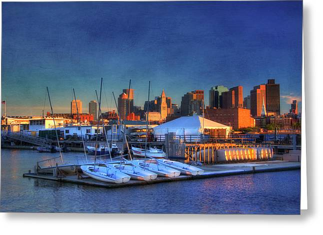 Boston Skyline From Charlestown Navy Yard Greeting Card
