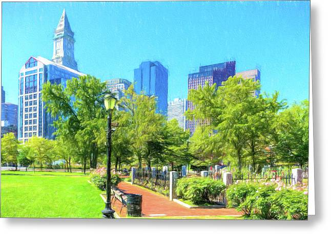 Boston Skyline From Columbus Park Greeting Card