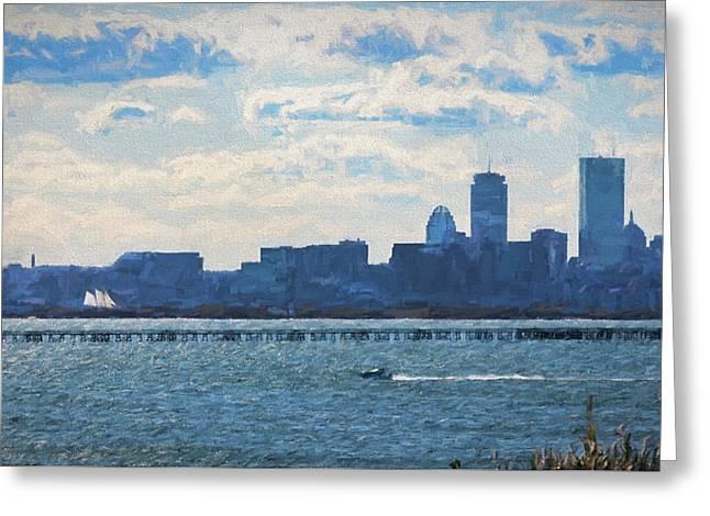 Boston Skyline From Deer Island Greeting Card