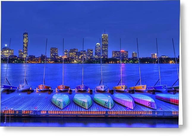 Boston Skyline From Mit Sailing Pavilion Greeting Card