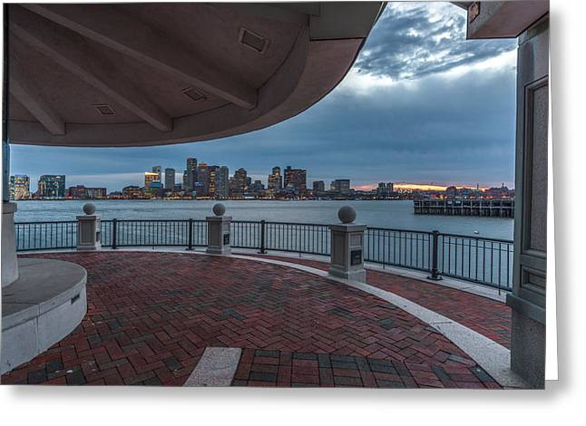 Boston Skyline From Piers Park  East Boston Ma Greeting Card