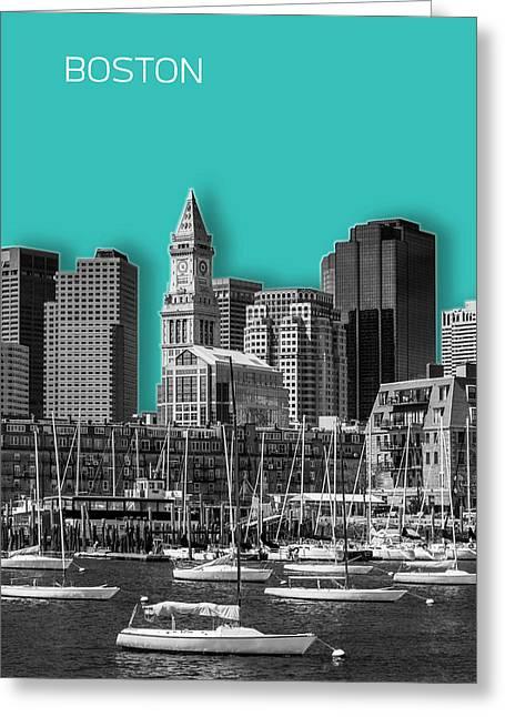 Boston Skyline - Graphic Art - Cyan Greeting Card