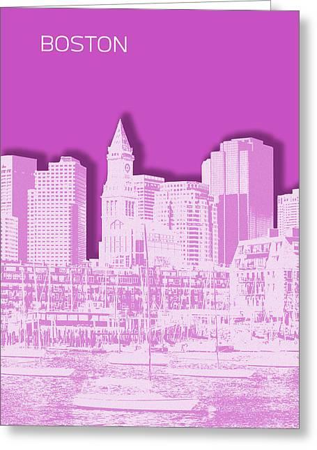 Boston Skyline - Graphic Art - Pink Greeting Card