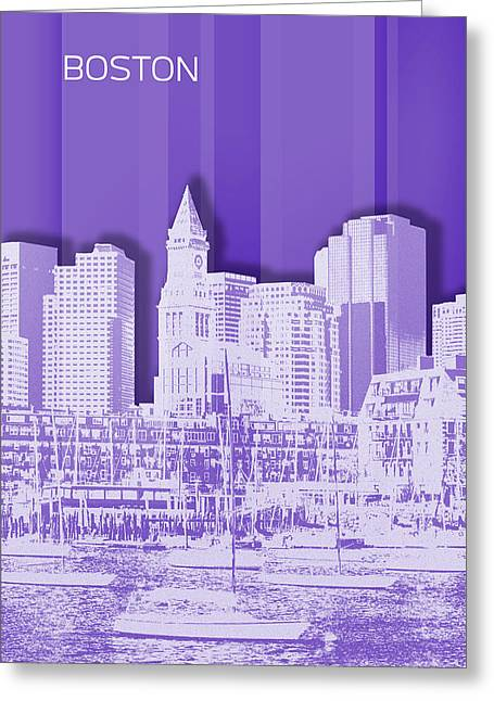 Boston Skyline - Graphic Art - Purple Greeting Card