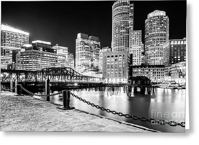 Boston Skyline Harbor At Night Black And White Photo Greeting Card