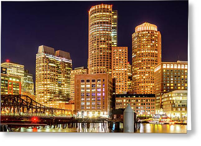 Boston Skyline Harbor At Night Panoramic Picture Greeting Card
