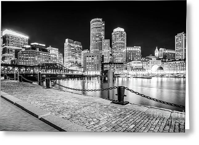 Boston Skyline Harbor Black And White Photo Greeting Card