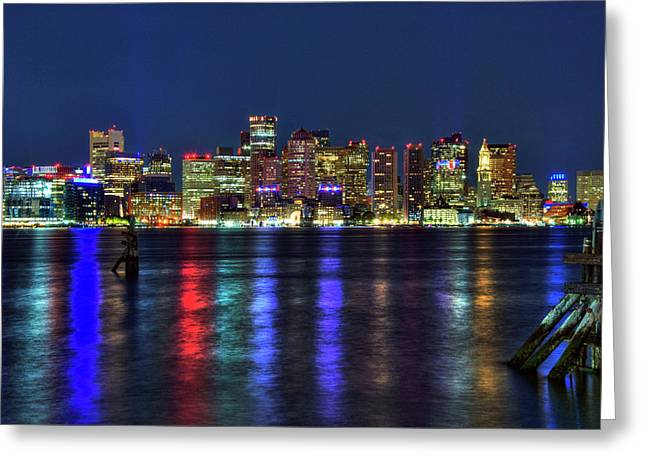 Boston Skyline Harborside At Night  Greeting Card