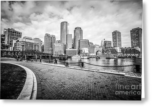 Boston Skyline Harborwalk Black And White Picture Greeting Card