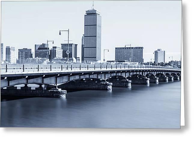Boston Skyline Harvard Bridge Panorama Photo Greeting Card by Paul Velgos