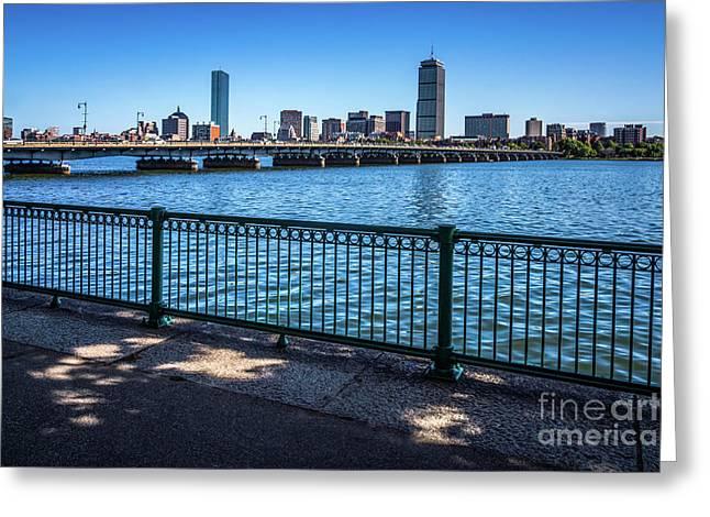 Boston Skyline Harvard Bridge Photo Greeting Card