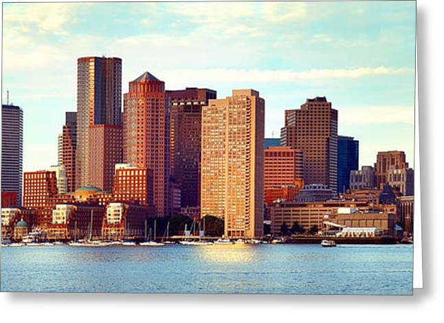 Boston Skyline In Early Morning Panorama Harbor  Greeting Card by Jon Holiday