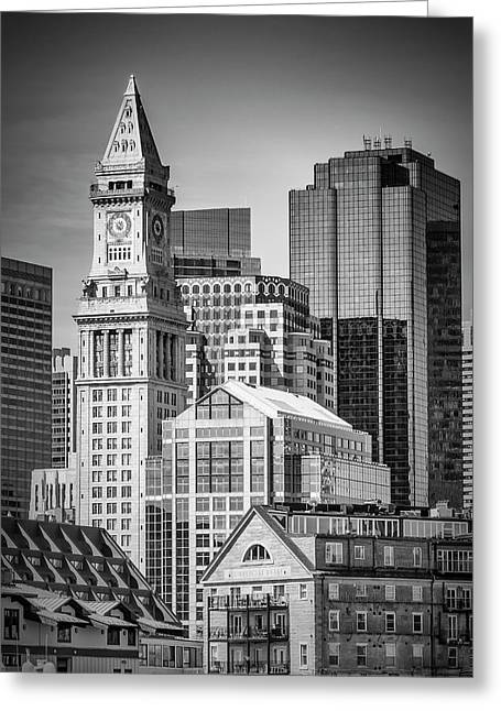 Boston Skyline North End And Financial District - Monochrom Greeting Card