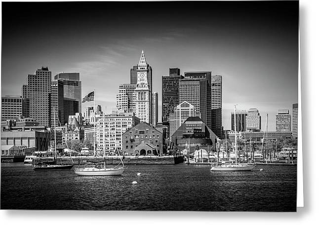 Boston Skyline North End - Monochrome Greeting Card