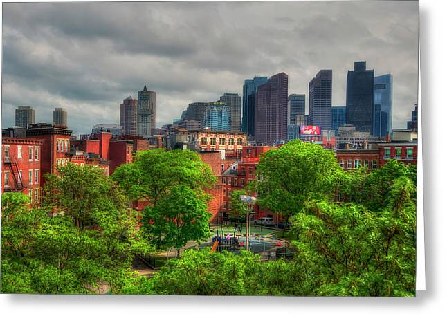 Boston Skyline - Old And New Greeting Card by Joann Vitali