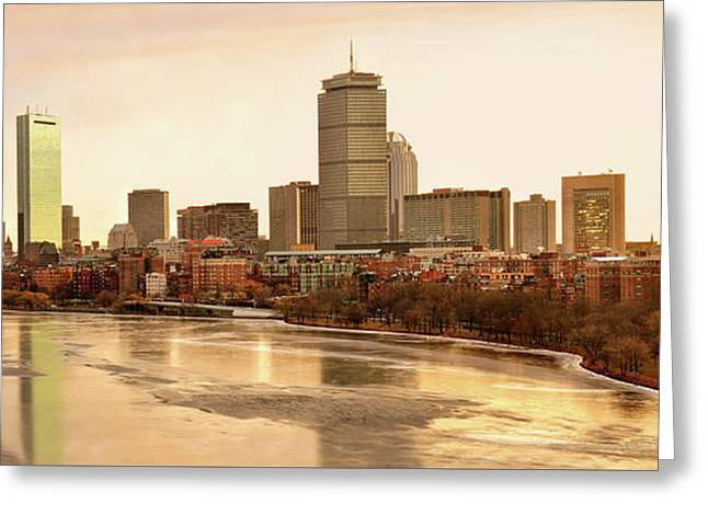 Boston Skyline On A December Morning Greeting Card by Mitchell R Grosky