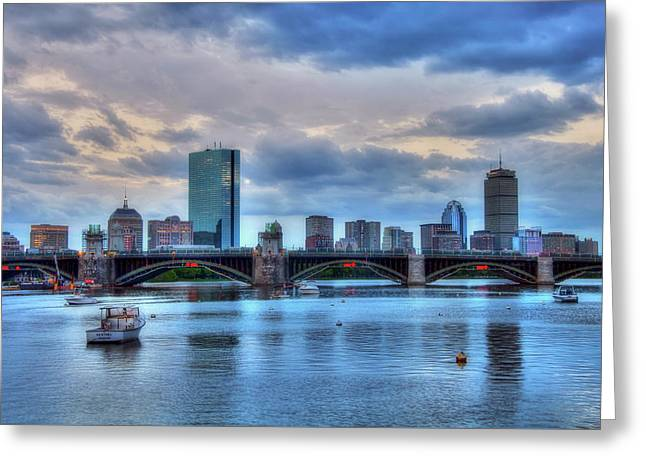 Boston Skyline On The Charles River At Dusk Greeting Card