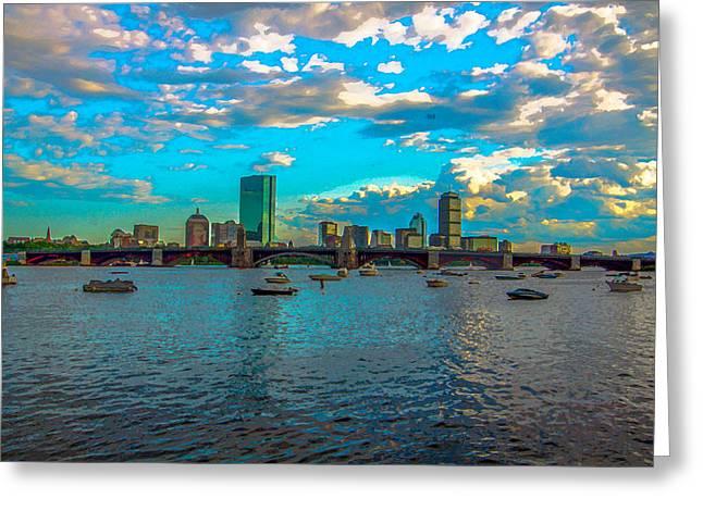 Boston Skyline Painting Effect Greeting Card