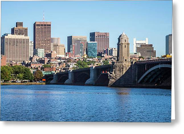 Boston Skyline Panorama With Longfellow Bridge Greeting Card