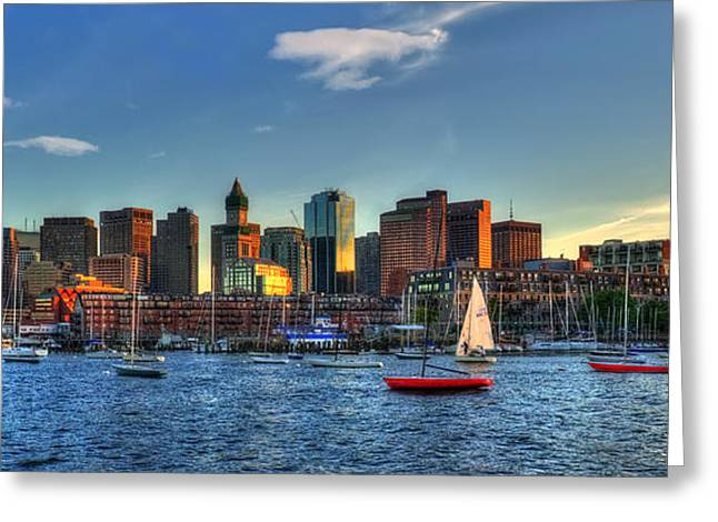 Boston Skyline Panoramic - Boston Harbor Greeting Card by Joann Vitali