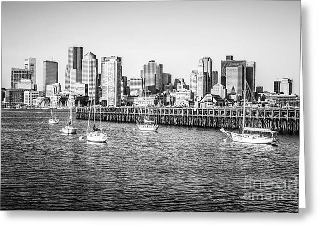 Boston Skyline Picture In Black And White Greeting Card by Paul Velgos