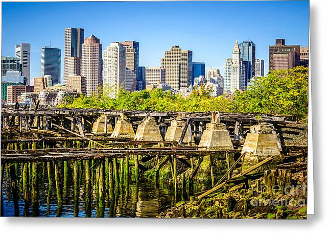 Boston Skyline Picture With Old Ruined Pier Greeting Card