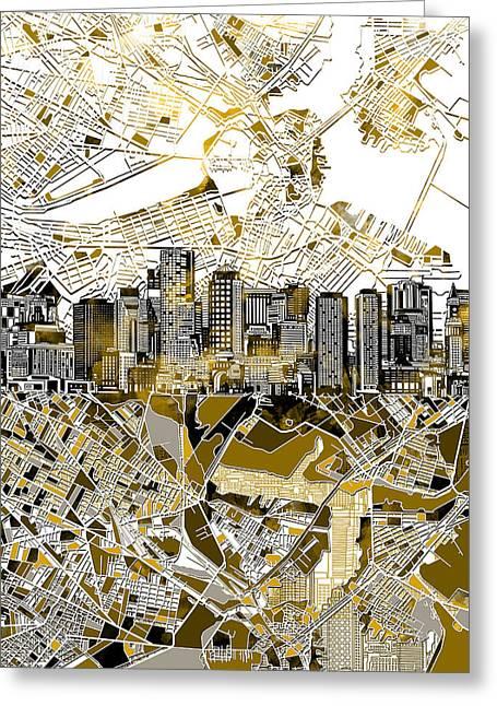 Boston Skyline Sepia Greeting Card