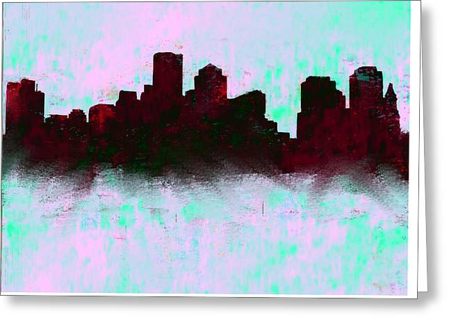 Boston Skyline Sky Blue  Greeting Card by Enki Art