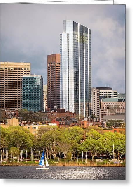 Boston Skyline Skyscraper Boston Ma Charles River Greeting Card