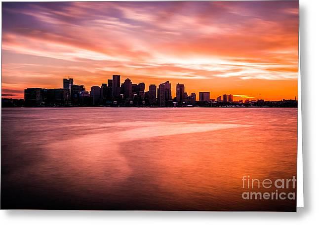 Boston Skyline Sunset Colorful Orange Sky Greeting Card